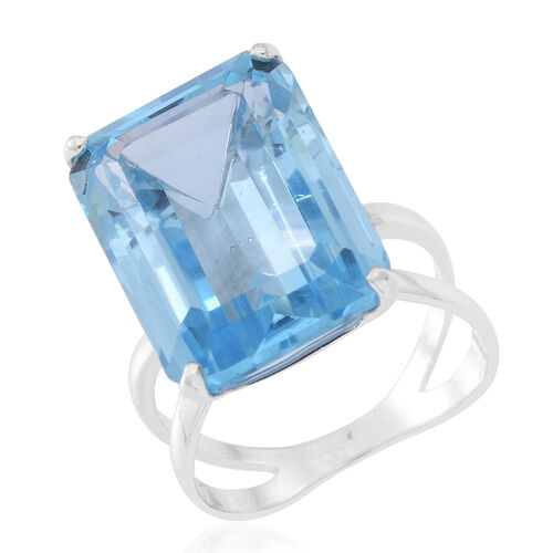 One Time Deal-Very Rare Size AAA Swiss Blue Topaz (Oct) Ring in Rhodium Plated Sterling Silver 25.000 Ct.