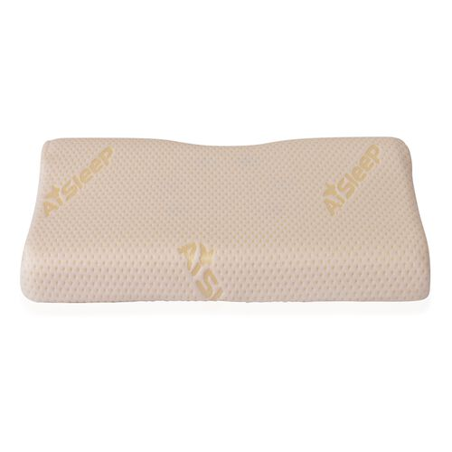High Density Memory Foam Ergonomic Seat Pillow with White Coolmax Cover (Size 42x32 cm)