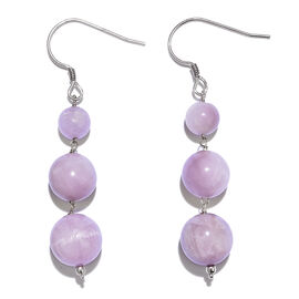 One Time Deal- Rare Size Kunzite (Rnd) Hook Earrings in Platinum Overlay Sterling Silver 48.600 Ct.