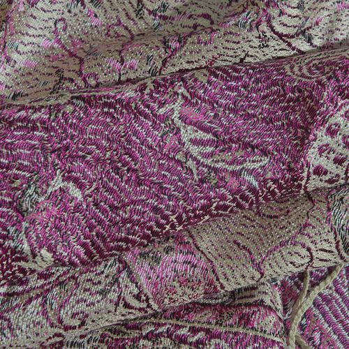 SILK MARK - 100% Superfine Silk Violet and Multi Colour Paisley and Floral Pattern Jacquard Jamawar Scarf with Tassels (Size 180X70 Cm) (Weight 125 - 140 Gms)