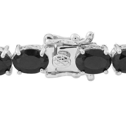 Boi Ploi Black Spinel (Ovl) Tennis Bracelet (Size 7.5) in Rhodium Plated Sterling Silver 26.000 Ct. Silver wt. 10.00 Gms.
