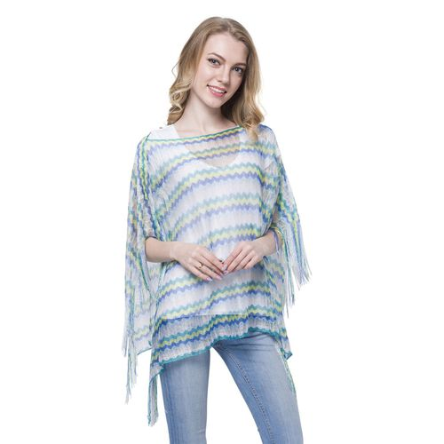 Green, Yellow, Blue and Multi Colour Stripe Pattern Poncho (Size 90x55 Cm) and White Colour Vest (Size 60x55 Cm)