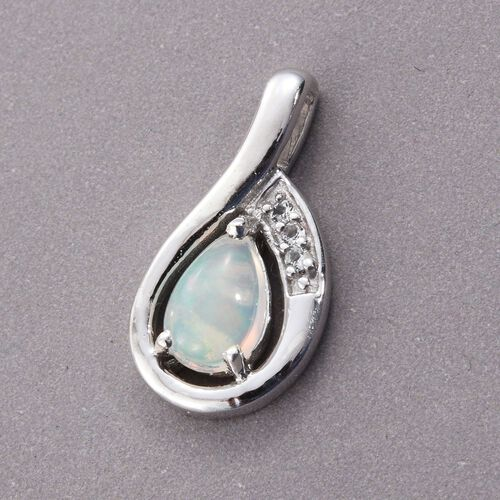 Ethiopian Welo Opal, White Topaz 0.81 Ct Silver Pendant in Platinum Overlay