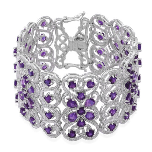 AA Lusaka Amethyst (Pear and Round) Bracelet (Size 7.5) in Rhodium Plated Sterling Silver 23.500 Ct.