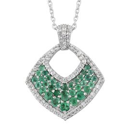 1.75 Ct Kagem Zambian Emerald and Natural Cambodian Zircon Designer Pendant with Chain in Platinum Plated Silver 6.10 gms 18 Inch