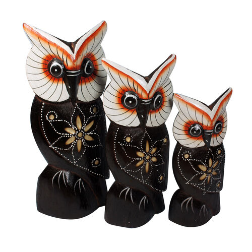 Bali Collection Home Decor - Set of 3 Black, Red and Multi Colour Hand Carved & Painted Softwood Owl (Size Large 20, Medium 17 and Small 14 Cm)