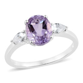 Rose De France Amethyst (Ovl 2.25 Ct), White Topaz Ring in Sterling Silver 2.750 Ct.