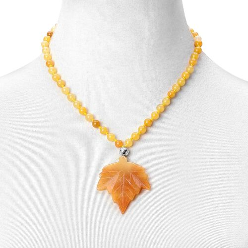 One Time Deal- Rare Honey Aventurine Necklace (Size 18) in Rhodium Plated Sterling Silver 185.000 Ct.