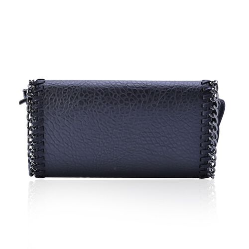 Croc Embossed Black Colour Crossbody Bag with Adjustable Shoulder Strap (Size 29x16x4 Cm)