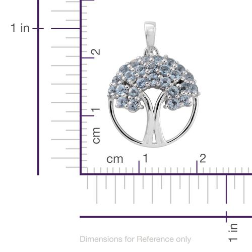 Espirito Santo Aquamarine 0.75 Ct Silver Tree of Life Pendant in Platinum Overlay
