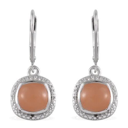 Mitiyagoda Peach Moonstone (Cush), Diamond Earrings in Platinum Overlay Sterling Silver 5.020 Ct.