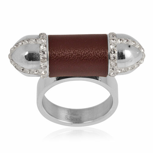 White Austrian Crystal Ring in Stainless Steel