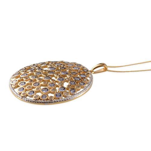 Tanzanite (Rnd), White Topaz Cluster Pendant With Chain in 14K Gold Overlay Sterling Silver 5.850 Ct.