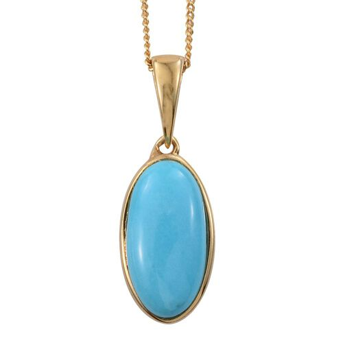 Arizona Sleeping Beauty Turquoise (Ovl) Solitaire Pendant with Chain (Size 18) in 14K Gold Overlay Sterling Silver 2.000 Ct.