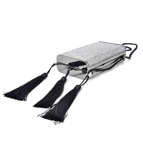 White Austrian Crystals Embellished Velvet Clutch Bag in Black Tone with Tassels (Size 17X9.5X5 Cm)