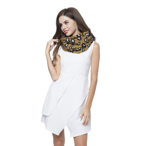 Designer Inspired - Yellow, Grey and Black Colour Leopard Pattern Infinity Scarf (Size 75X24 Cm)