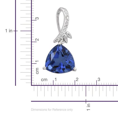 Ceylon Colour Quartz (Trl 3.25 Ct), Diamond Pendant in Platinum Overlay Sterling Silver 3.260 Ct.