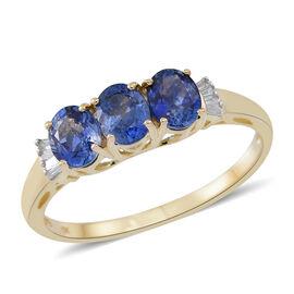 9K Yellow Gold AA Ceylon Blue Sapphire (Ovl), Diamond Ring 1.500 Ct.