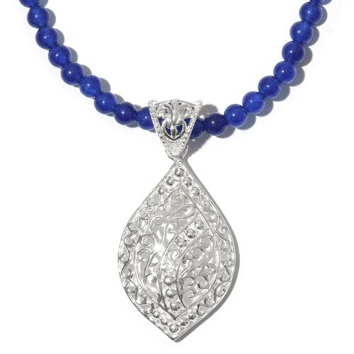 Blue Quartzite Beads Necklace (Size 20) with Pendant in Sterling Silver 35.000 Ct.