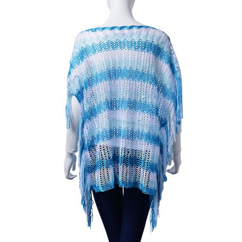 Lace Pattern Blue and White Colour Poncho with Tassels (Size 90x55 Cm)