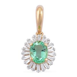 ILIANA 18K Yellow Gold 0.55 Carat Boyaca Colombian Emerald Halo Pendant with Diamond SI G-H