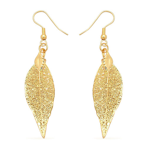 Real Evergreen Leaf Hook Earrings Dipped in 24K Yellow Gold
