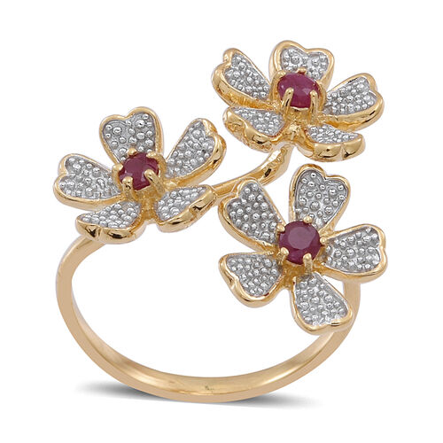 Burmese Ruby (Rnd) Triple Floral Ring in 14K Gold Overlay Sterling Silver 0.500 Ct.