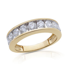 Collectors Edition ILIANA 18K Y Gold SGL Certified Diamond (Rnd) (SI/G-H) Half Eternity Band Ring 1.500 Ct.