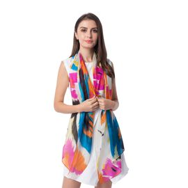 New Season-100% Mulberry Silk White, Pink and Multi Colour Scarf (Size 175x53 Cm)