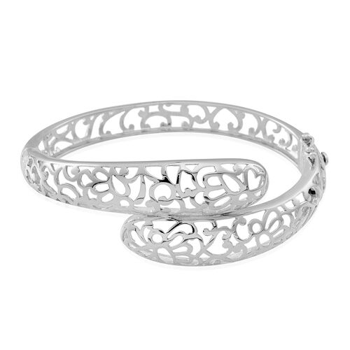 Designer Inspired Rhodium Plated Sterling Silver Bangle (Size 7.5), Silver wt 21.25 Gms.
