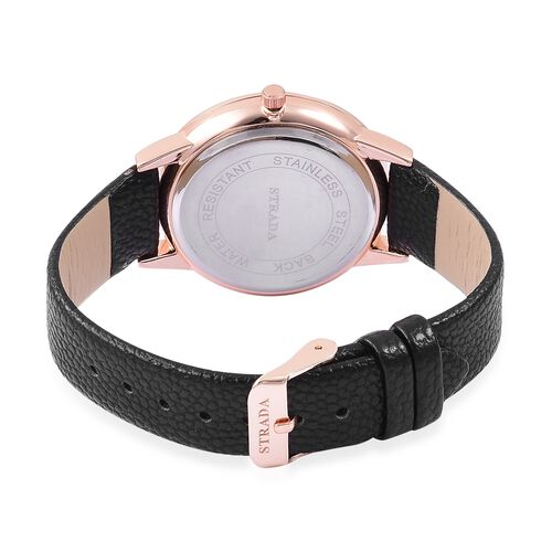 STRADA Japanese Movement White Dial Water Resistant Watch in Rose Gold Tone with Black Colour Strap
