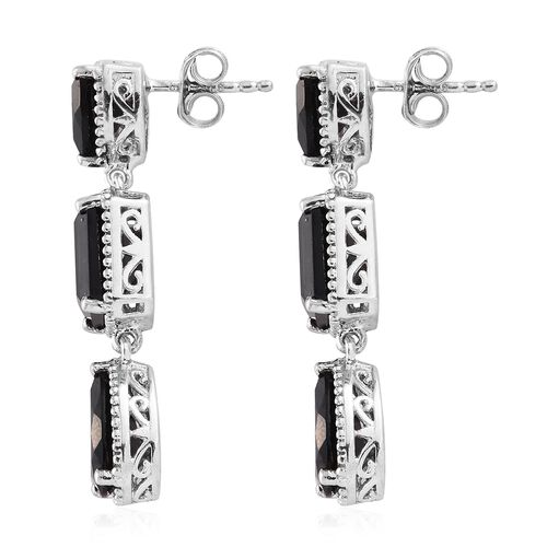 Black Tourmaline (Pear) Earrings (with Push Back) in Platinum Overlay Sterling Silver 11.500 Ct.