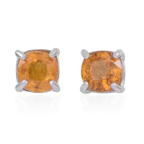 Orange Sapphire (Cush) Stud Earrings in Rhodium Plated Sterling Silver 1.250 Ct.