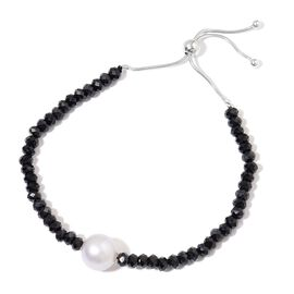 South Sea White Pearl and Boi Ploi Black Spinel Adjustable Bracelet  (Size 6.5 to 9) in Rhodium Plated Sterling Silver 50.000 Ct.Delivery 6 to 8 Days