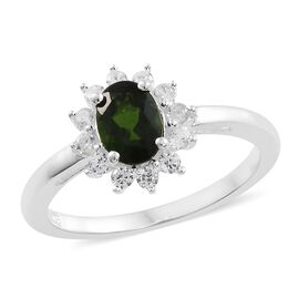 Designer Inspired- Russian Diopside (Ovl), Natural Cambodian White Zircon Floral Ring in Sterling Silver 1.250 Ct.