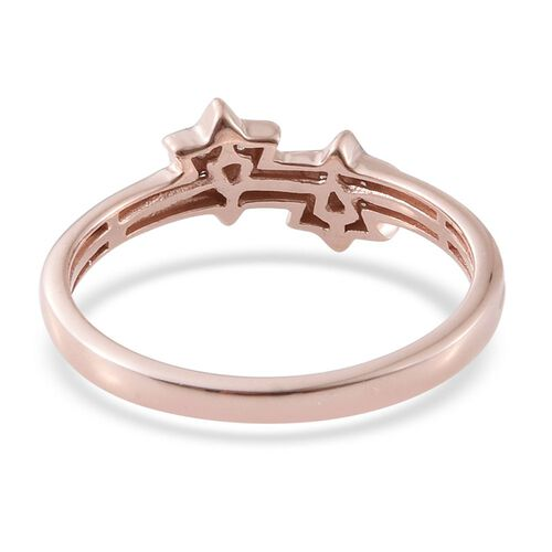 Diamond (Rnd) Twin Star Ring in Rose Gold Overlay Sterling Silver 0.080 Ct.