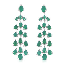 Verde Onyx (Pear) Chandelier Earrings (with Push Back) in Rhodium Plated Sterling Silver 10.750 Ct.