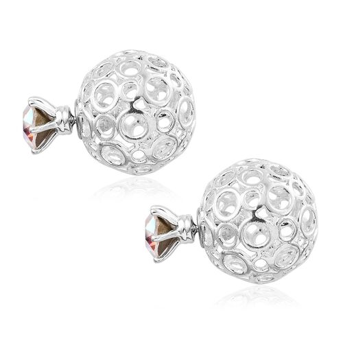 J Francis Crystal From Swarovski - AB Colour Crystal (Rnd) Stud Earrings (with Push Back) in Sterling Silver.Silver Wt 7.00 Gms