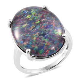 Exclusive Edition- Rare Size AAA Australian Boulder Opal (Ovl 25x18 mm) Ring in Platinum Overlay Sterling Silver 15.250 Ct.