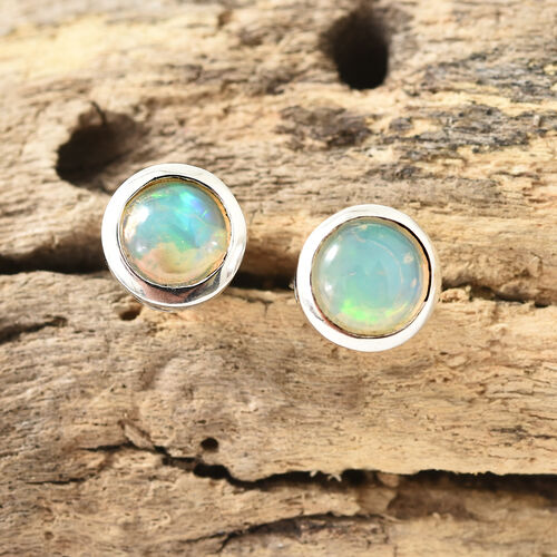Ethiopian Welo Opal (Rnd) Stud Earrings (with Push Back) in Platinum Overlay Sterling Silver 1.250 Ct.