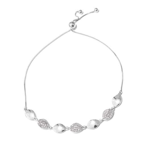Diamond (Rnd) Adjustable Bracelet (Size 6.5 to 8) in Platinum Overlay Sterling Silver 0.400 Ct.