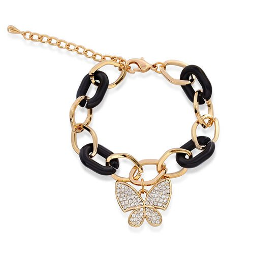 White Austrian Crystal Butterfly Charm Bracelet In Gold Tone With Black Resin (Size 7.5 with Extender)