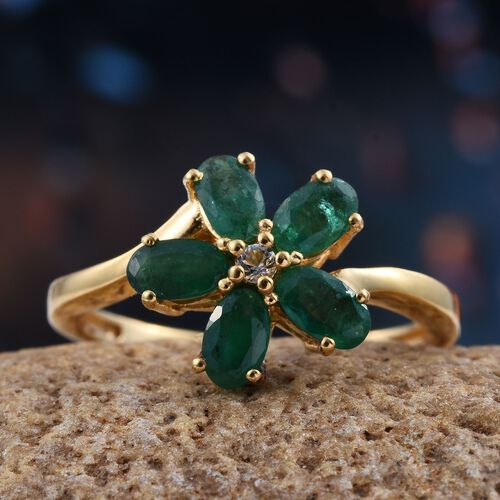 Brazilian Emerald (Ovl), White Topaz Floral Ring in 14K Gold Overlay Sterling Silver 1.250 Ct.
