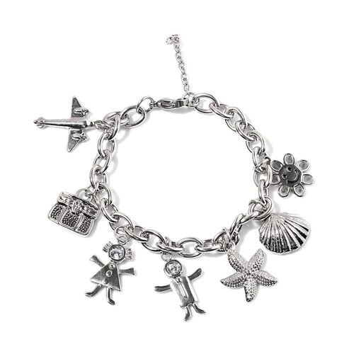 AAA White Austrian Crystal Sun, Shell, Starfish, Boy, Girl, Bag and Plane Charm Bracelet (Size 8) in Stainless Steel