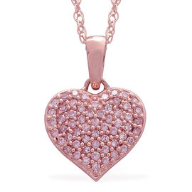 9K R Gold Natural Pink Diamond Heart Pendant With Chain 0.250 Ct.