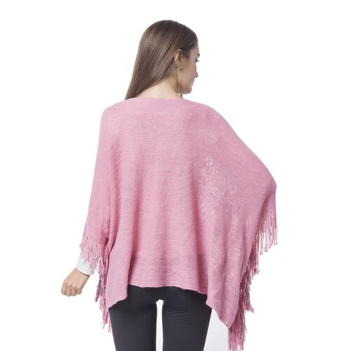 Simulated Pearl Embellished Pink and Grey Colour Knitted Poncho with Tassels (Size 120X55 Cm)