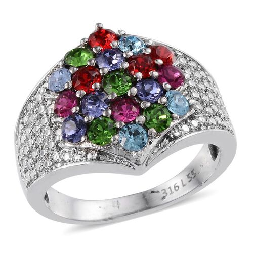 Crystal from Swarovski - Light Siam Crystal (Rnd), Fern Green Crystal, Tanzanite Colour Crystal Ring in ION Plated Stainless Steel 1.500 Ct.