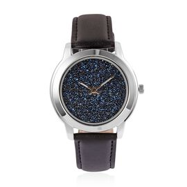 GENOA Japanese Movement Blue Dial Water Resistant Watch with Swarovski Crystals in Silver Tone with Black Colour Strap