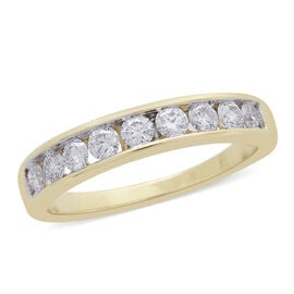 ILIANA 18K Yellow Gold IGI Certified Diamond (Rnd) (SI G-H Half Eternity Ring 0.500 Ct.