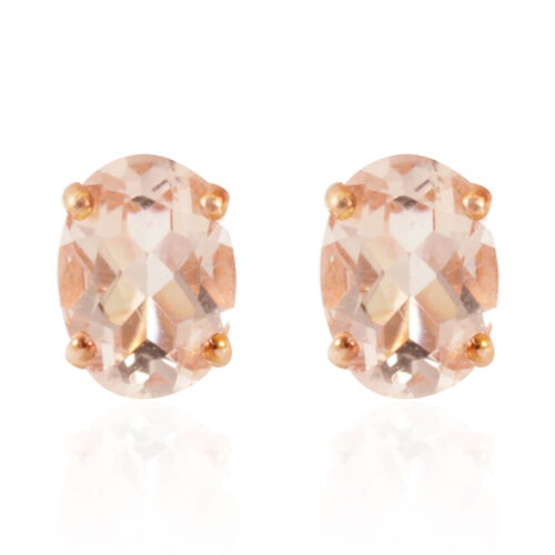 Tuscon Collection ILIANA 18K R Gold AAAA Marropino Morganite (Ovl) Earrings (with Push Back) 1.250 Ct.